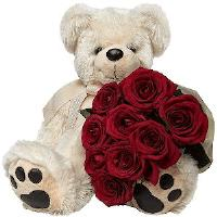 9 Red Roses and Teddy Bear