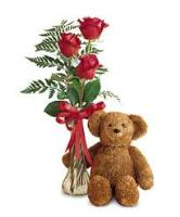 3 Red Roses and Teddy Bear